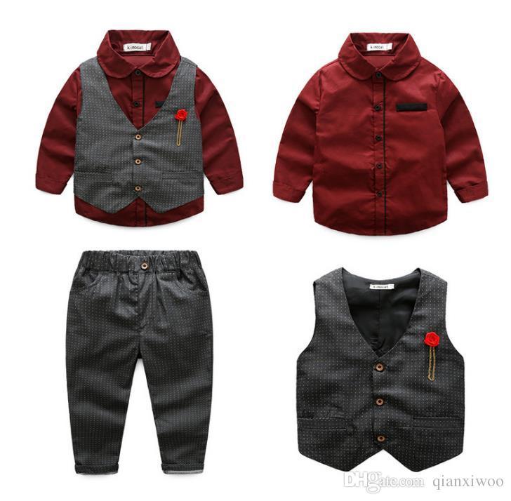 Nouveau Printemps Automne Bébé Garçons Set Gentleman Enfants Chemise + Gilet + Pantalon 3 pcs Enfants Garçons Tenues Vêtements Costume W344