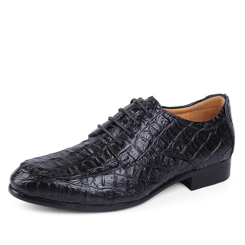 Genuine scarpe di cuoio Oxford per il vestito Uomini Uomini uomini d'affari di coccodrillo scarpe più le scarpe da sposa taglia Man