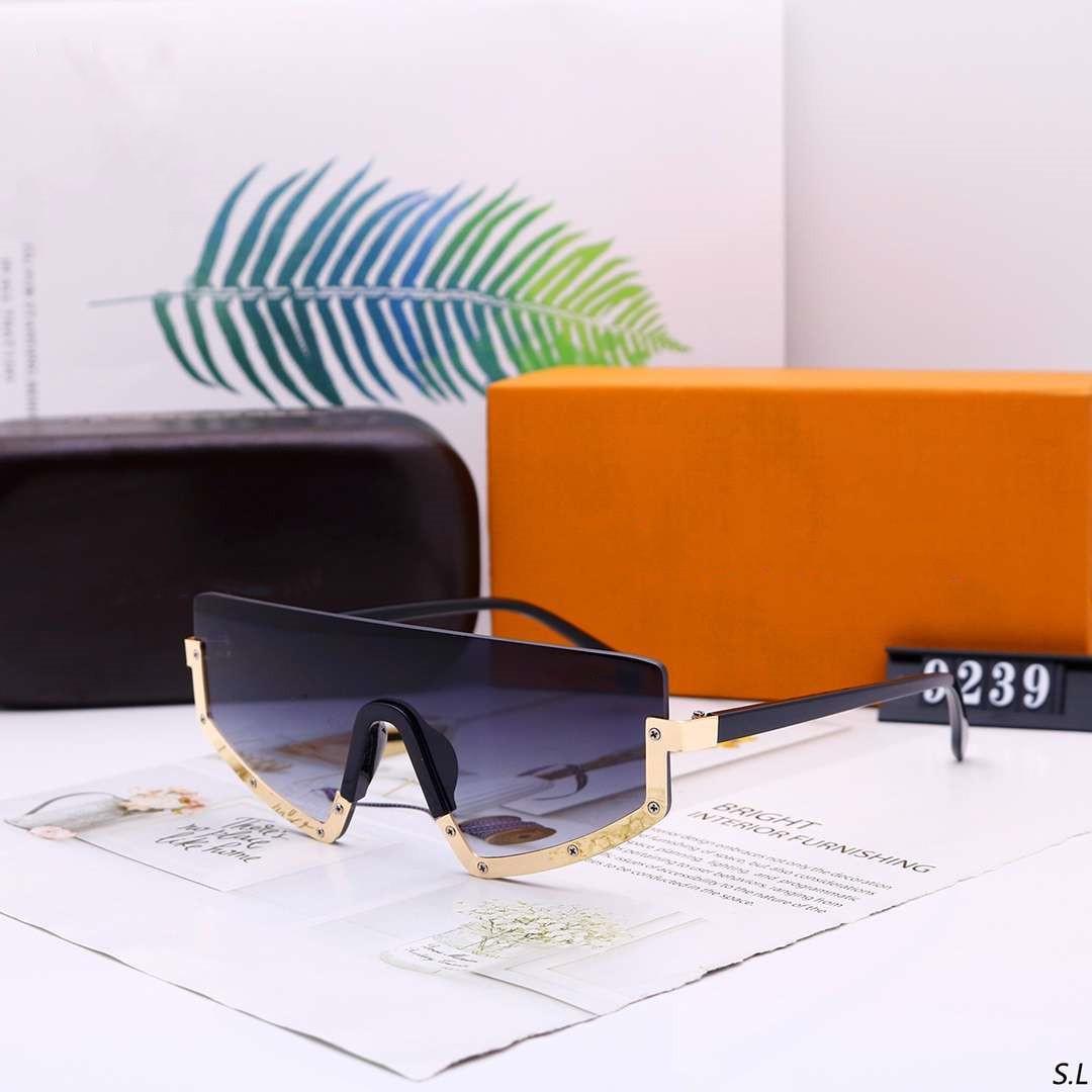 CALIDAD MAN V DESIGNER Gafas de sol Mujer Mujeres Gafas de sol Caja Alta UV400 9239 letras 6 Gafas de colores de gran tamaño Moda - Con Goggle NXTSC