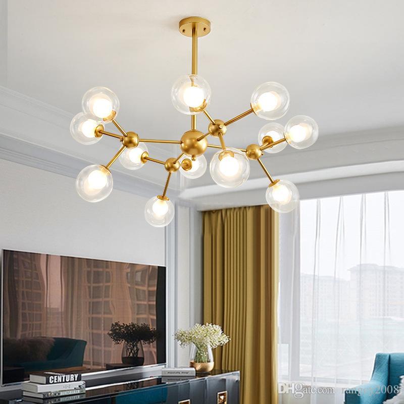 Современное стекло LED освещение Люстры Северное золото Люстра Свет хрустальной люстры для гостиной лампы люстры потолочные светильники