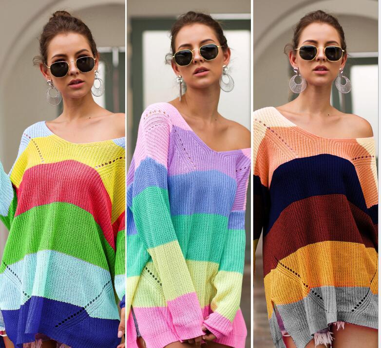 좋은 품질 여성 디자이너 스웨터 2020 봄 가을 캐주얼 레이디 후드 스웨터 스트라이프 탑스 의류 3 색