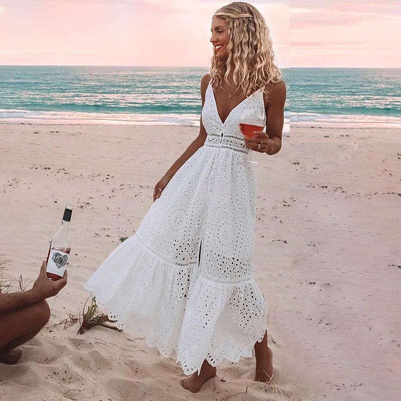 Boho-Stickerei-Weiß Sexy Spitze-Frauen-Sommer-Maxi Kleid Spaghetti-Bügel-Baumwollkleider Feiertags-Party Lange Vestidos 2019