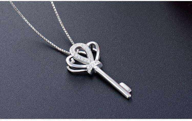 Düğün takı üst kolyeler gümüş CZ takı beyaz altın için kaliteli kadın S925 gümüş kolye anahtar kolye DDS1905 kaplama