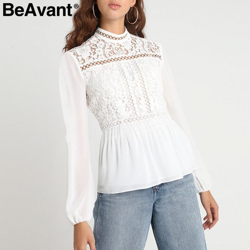 BeAvant 빈티지 peplum white white blouse women 자수 레이스 블라우스 셔츠 긴팔 시폰 여름 탑 2019