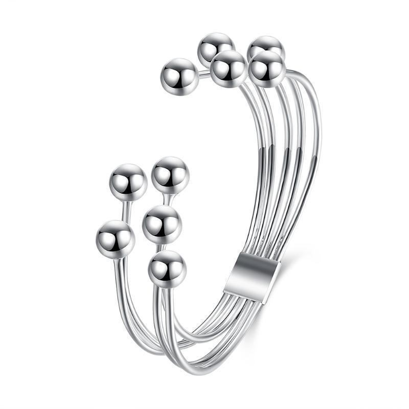 Fünf-line Perlenarmband Art und Weise Blumenform Silber-Armband weiblichen Trend einfache Persönlichkeit koreanische Version des offenen