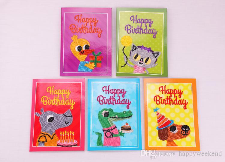 Nouvelle arrivée diamant peinture Cartoon Mini Christams Joyeux anniversaire papier Cartes postales de voeux de bricolage Cartes Greet Kids Festival cadeau