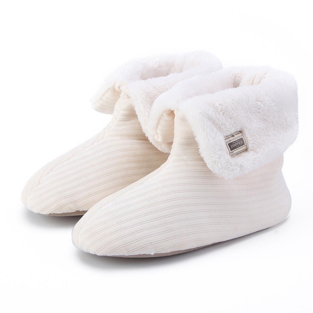 Navidad caliente del terciopelo de las mujeres zapatos de los deslizadores caseros para el calzado femenino mujer Estrellas del calcetín de felpa zapatillas antideslizantes en suave piel