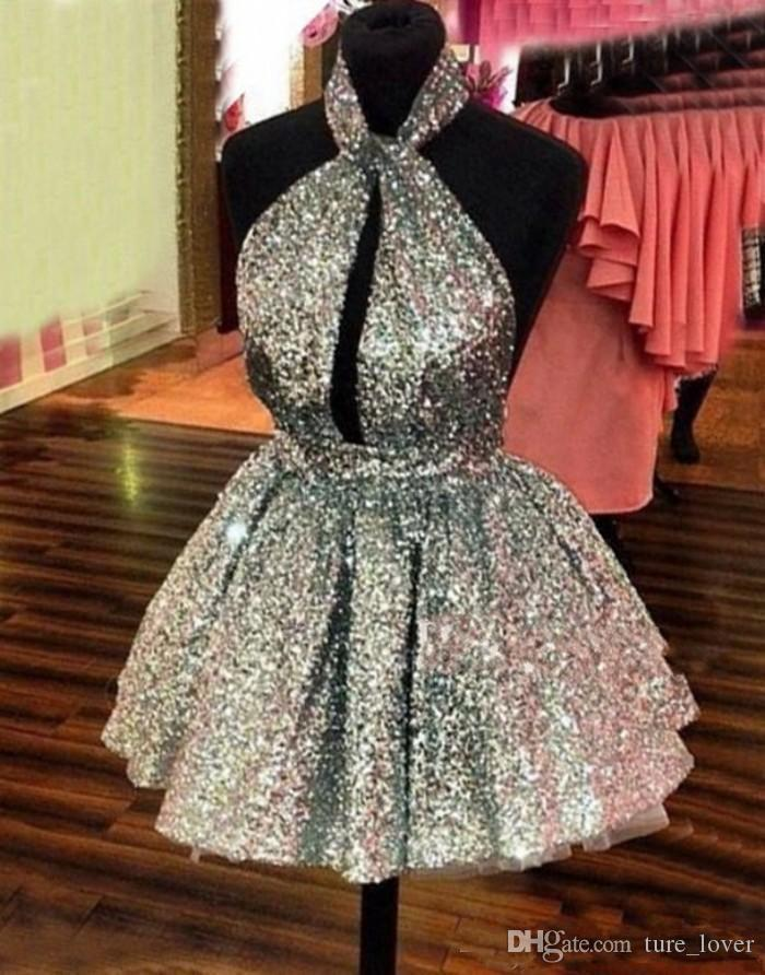Sparkly Silver Sequined Homecoming Dresses Halter Sexy Backless Short Graduation Prom Dresses Hollow Front Cocktail Party Dresses Cheap