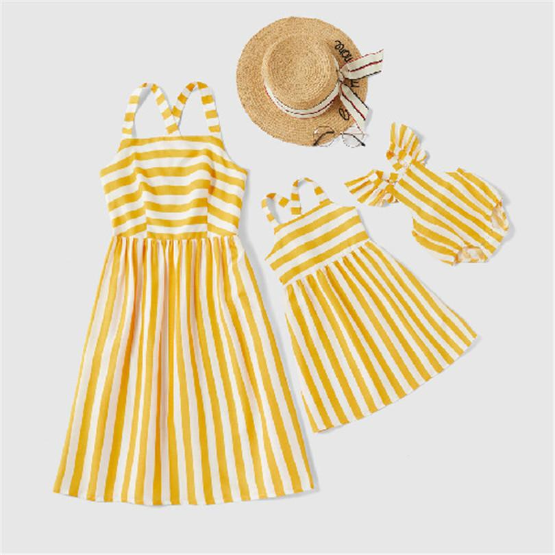 Mother Daughter Matching Clothes Summer Family Matching Clothes Stripe Family Look Mom And Daughter Dresses Mommy And Me Clothes