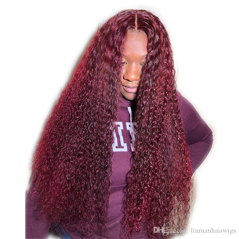 Burgundy Lace Front Wig With Baby Hair 99J Curly Brazilian Remy Full Lace Human Hair Wig