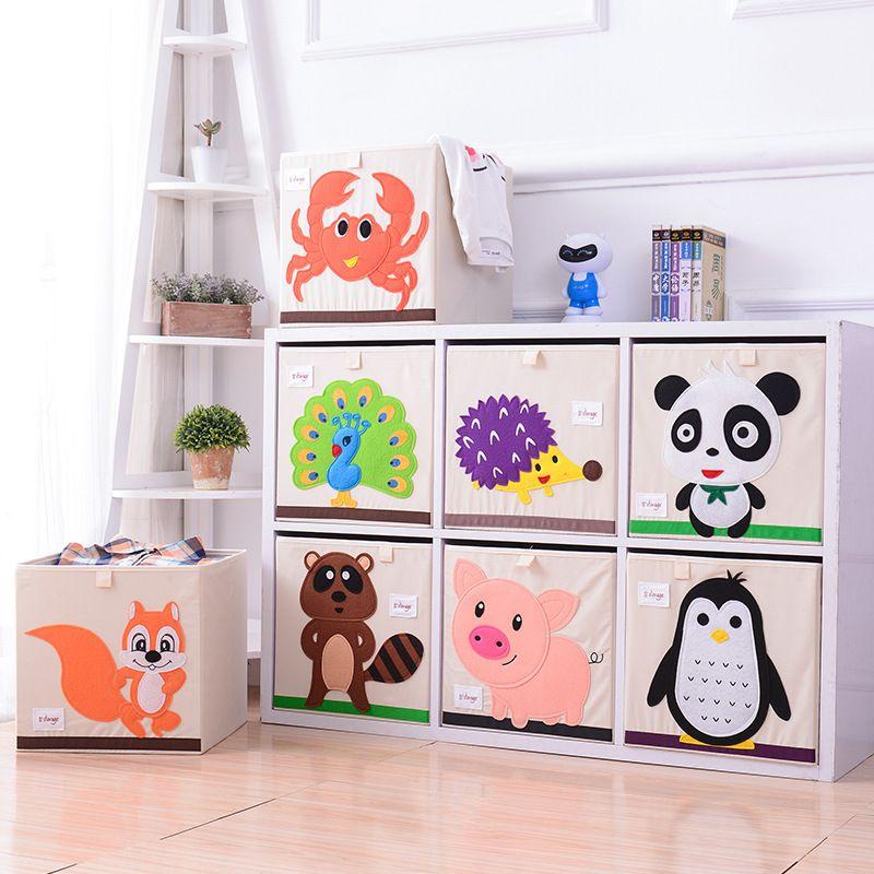 Embroidery Storage Box Cartoon Animal Folding Large Laundry Basket Sundries Children Clothes Book Storage bins kid toy organizer T200104