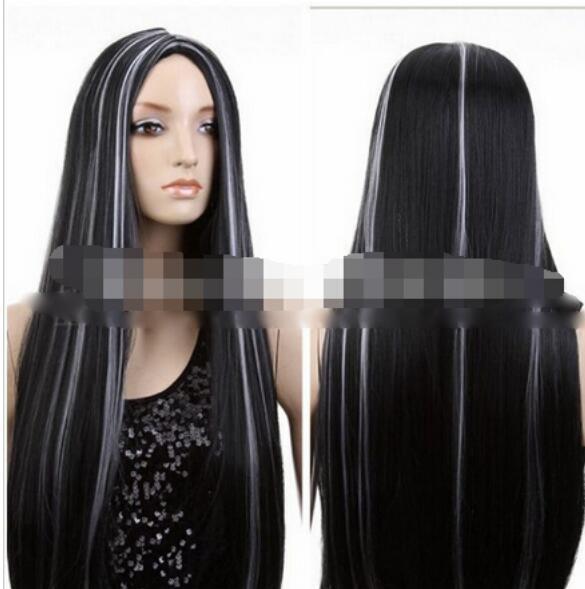 무료 해피 + + + 패션 섹시한 긴 블랙 믹스 화이트 스트레이트 코스프레 파티 의상 전체 가발 / 가발
