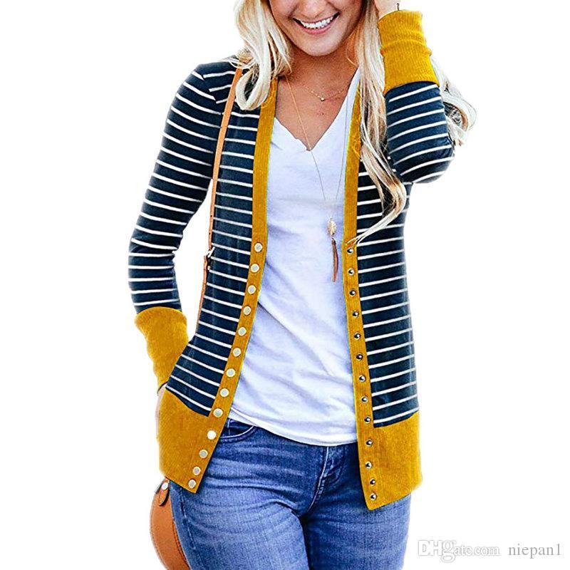 Na primavera 2018 ms tarja estilo quente impresso costura manga comprida single-breasted cardigan casaco