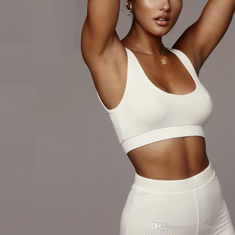 Женская Дизайнерская Тонкий Спортивные костюмы Мода Tank Top Skiny Длинные брюки Casual Solid Color Спортивная одежда