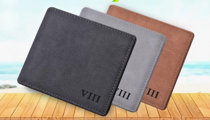 Männer kurze Brieftasche dünne retro Student Freizeit Business Brieftasche horizontale Brieftasche Gezeiten Persönlichkeit weichem Leder Jugend
