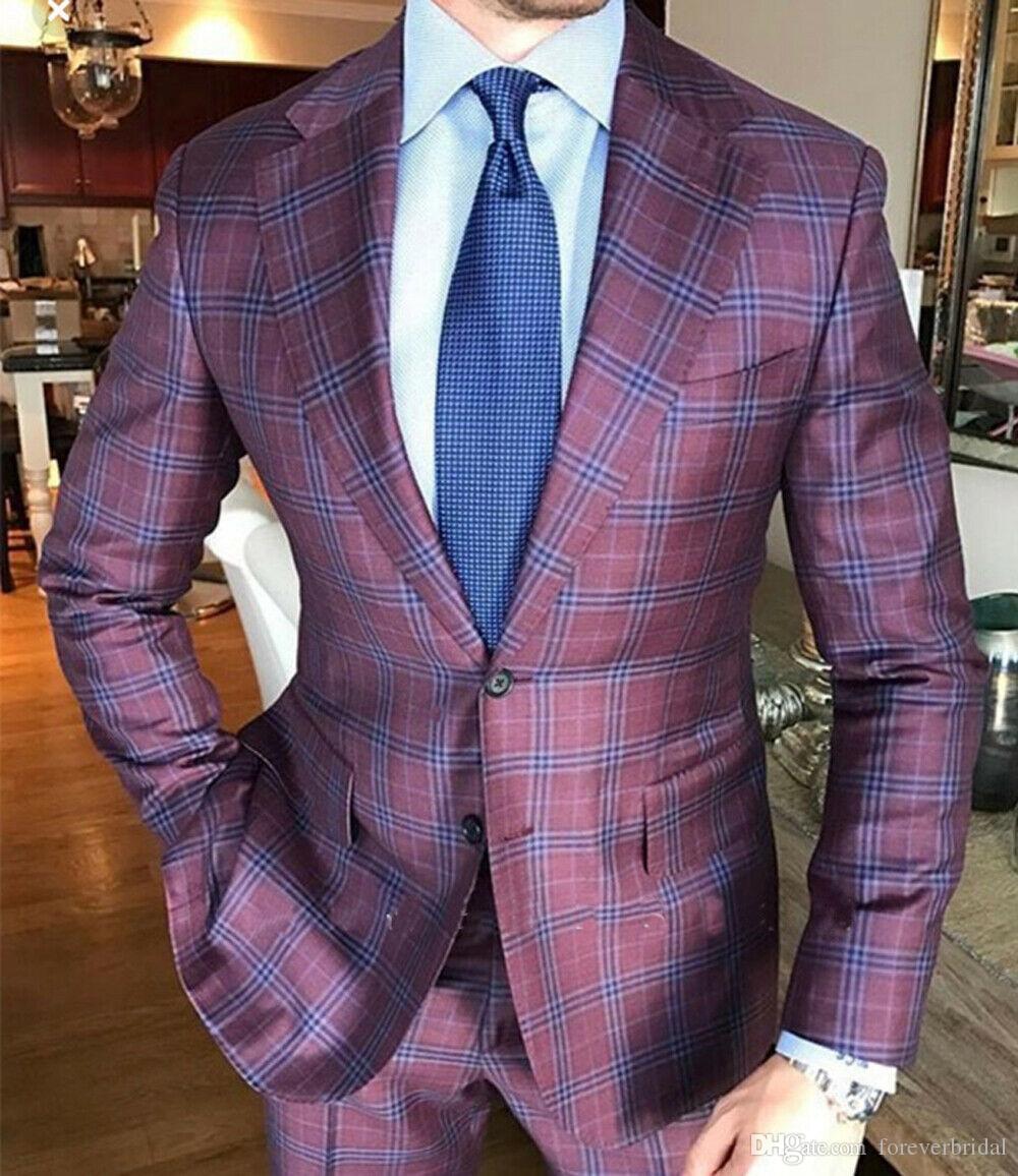 dos homens Lã Clássico Windowpane Formal ternos de casamento 2 Pieces noivo desgaste do negócio Escritório Verifique smoking Prom Party Blazer (Jacket + calças)