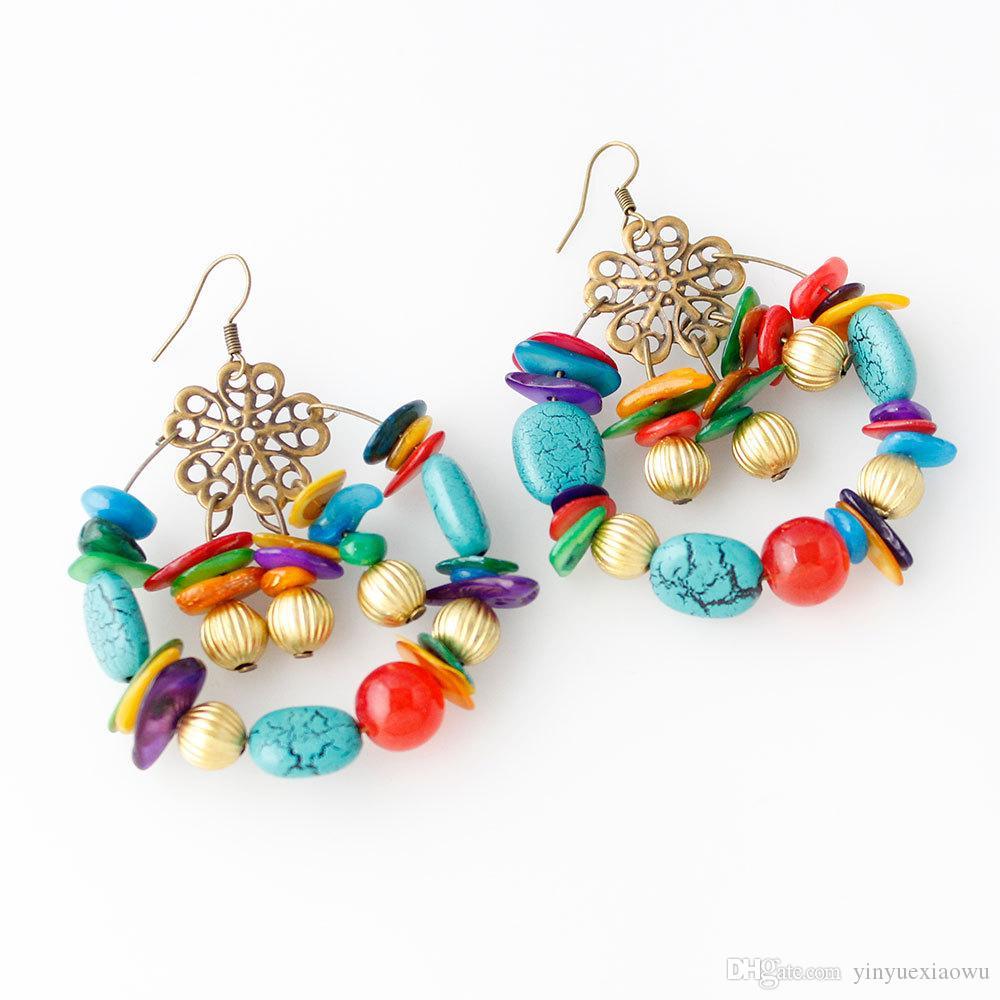 Moda europea y americana estilo retro estilo bohemio hecho a mano con cuentas pendientes coloridos pendientes al por mayor 5 piezas