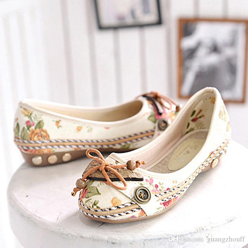 Mulheres Flats Flor Deslizamento Em Lace Up Loafers Sapatos Confortável Velho Peking Ballerina Sapatos Baixos