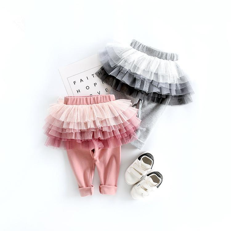 2018 Autumn Cotton Pants Baby Girls Kids 6 Layers Tulle Skirt Skinny Leggings Toddler Ball Gown Party Leggings Children Clothing