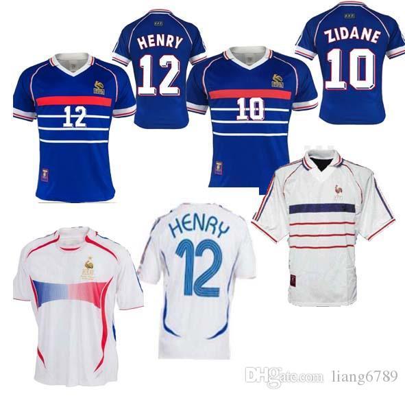 10 zidane 1998 FRANCIA RETRO ZIDANE HENRY Maglia FOOT superiore qualità pullover di calcio delle uniformi della camicia di calcio maglie uomini della camicia