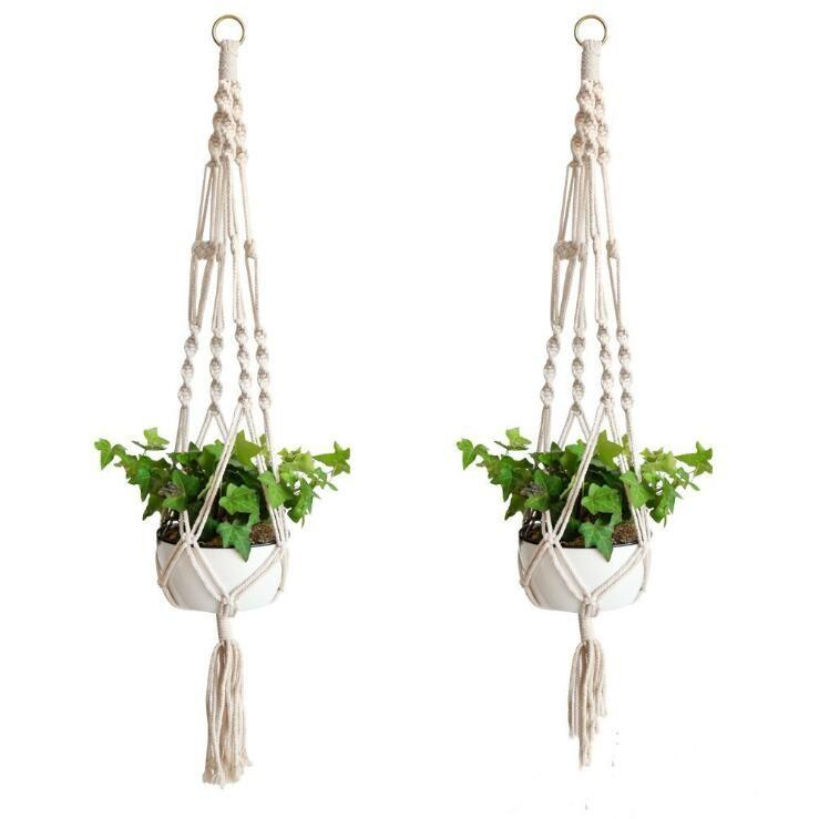 Hangers Plant Macrame Rope Pots Holder Wall Hanging Rope Planter Hanging Basket Plant Holders Indoor Flowerpot Baskleرفع LXL1039-1