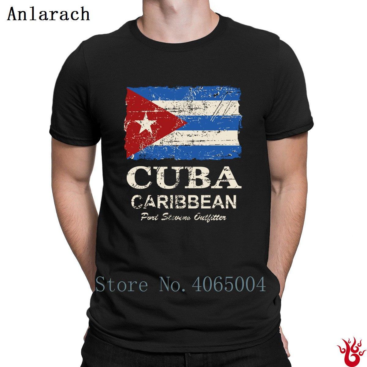 Kuba-Flagge Vintage Look T-Shirt erstellen Comical-runde Kragen-Geschenk-Männer-T-Shirt 2018 Pop-Spitze T Outfit Cotton Basic-Fest