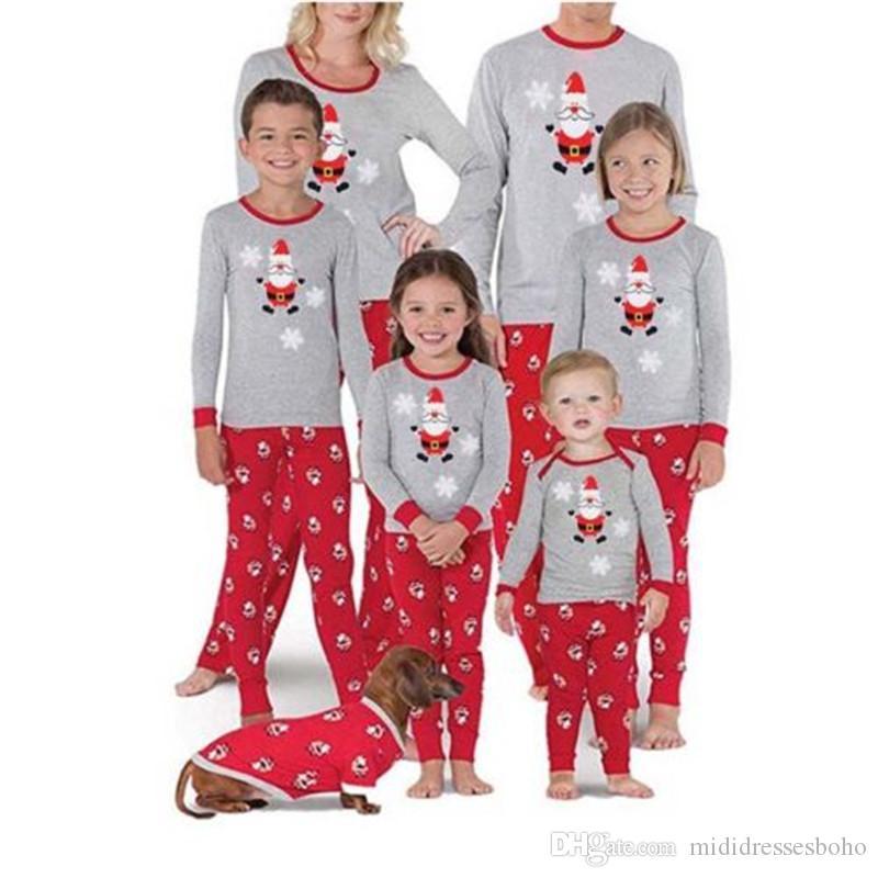 Noel Baskılı Aile Tasarımcı Uzun Kollu Kazak pijamalar Casual Slim O Boyun Pijama Setleri Takımları