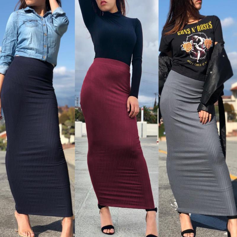 2019 Abaya Dubai arabo musulmano a vita alta in maglia matita aderente vestito dalla gonna Donne lungo Gonne a righe Abbigliamento islamico