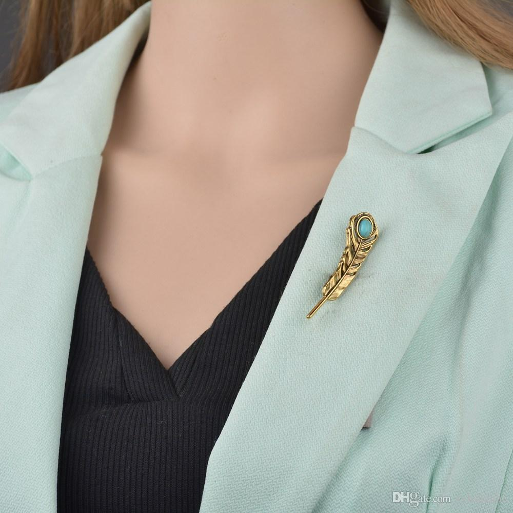 Bohemian Silver Gold Metal Blue Stone Brooches Pin For Women Girls Ethnic Tribal Vintage Leaf Shape Brooch b120