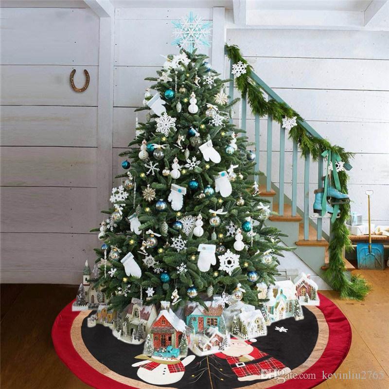 Árvore de Natal saia com boneco de neve Papai Noel do floco de neve Teste padrão do tapete Grande Natal alta qualidade Decorações de Natal 08