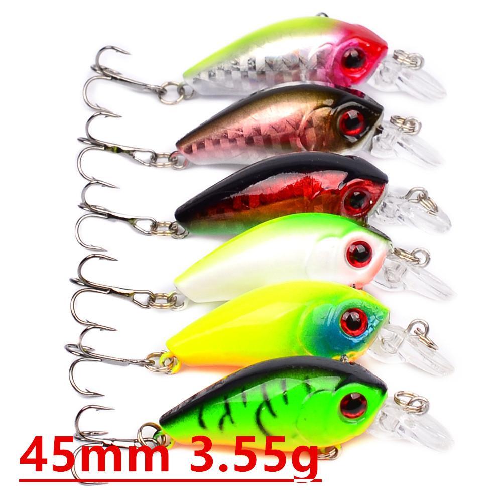 6 цветов 45мм 3.55g Crank рыболовные крючки 8 # Hook Жесткий Приманки Приманки Песка рыболовные снасти Аксессуары LW-12