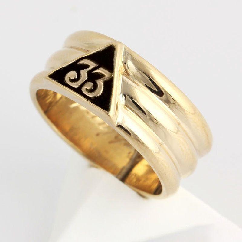 Men's 33rd Degree Scottish Rite Masonic Ring Gold Freemason Wedding Band Rings Freemasonry Jewelry Gift