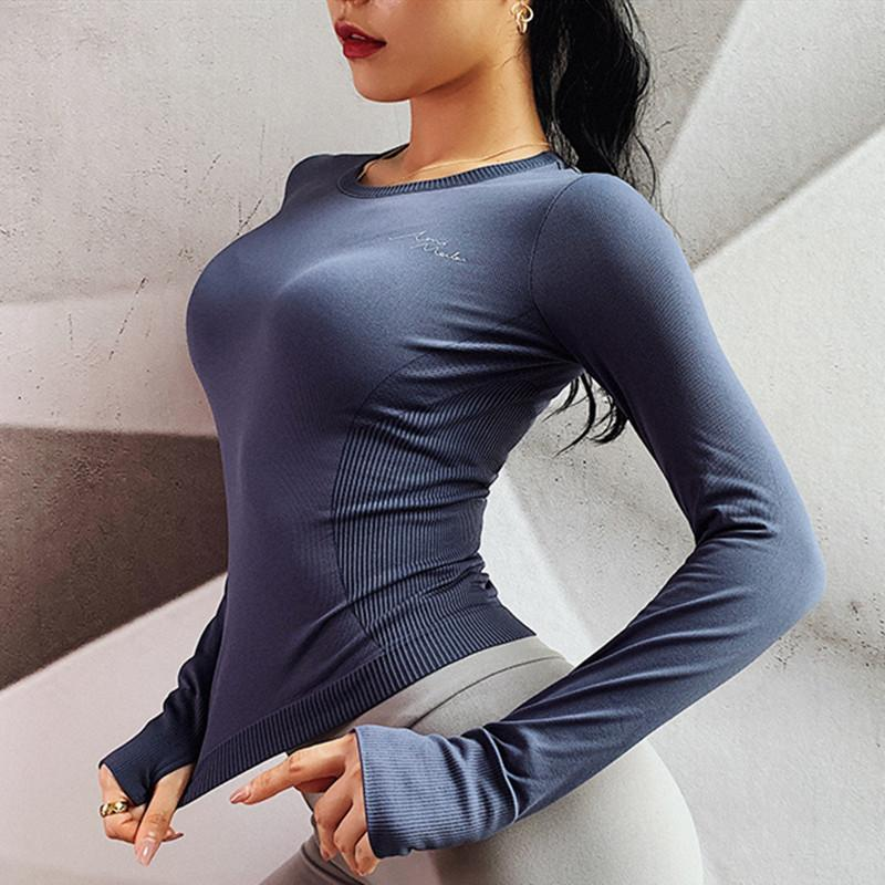 Maillot Femme Comfort Stretch Sport Top sans couture à manches longues yoga Top femme Gym Fitness Tops Shirt Jersey Mujer femmes Pull T200623 de