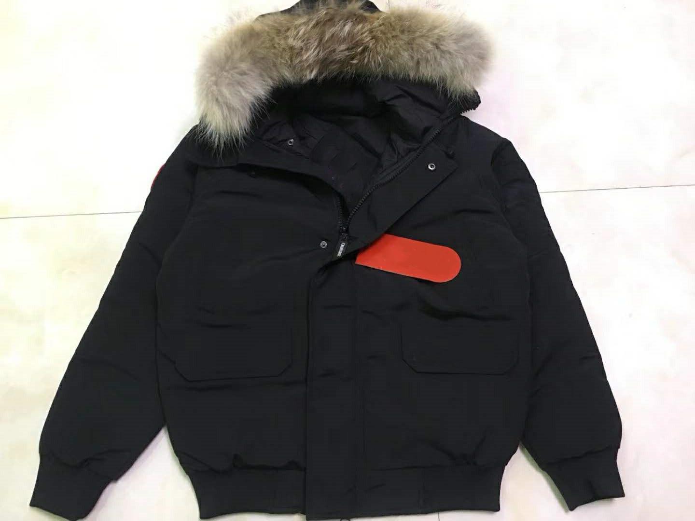 Dış Giyim Palto İLE KÜRK HOOD aşağı Erkekler KIŞ kalın Sıcak Ceket CAN Chilliwa-B Aşağı Parkas Büyük gerçek kurt Kürk Yaka / Beyaz kaz