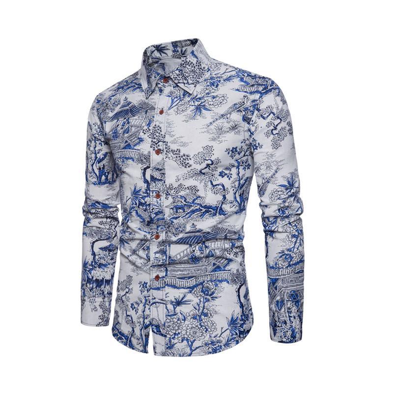 Mens Shirt New Summer Beach Long Sleeve Slim Casual Shirt Gemelos Camisa Mens Womens Vintage Print Slip Dress Dating Work Travel