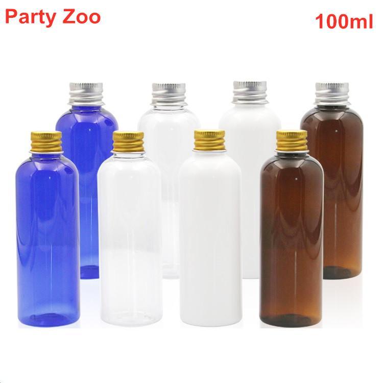 100ml Altın / Gümüş Alüminyum Cap 3.5oz Doldurulabilir Parfüm Konteyner Jar ile Taşınabilir Boş Yuvarlak Omuz Plastik Şişe