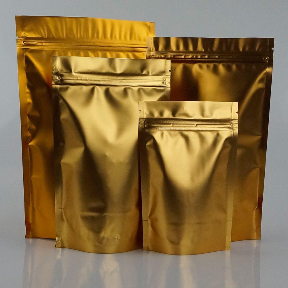 100 adet / grup, 10 * 15 cm Ayakta mat altın alüminyum folyo kilitli torba, altın alüminize mylar kahve çekirdeği saklama torbalar, yeniden kullanılabilir çantalar