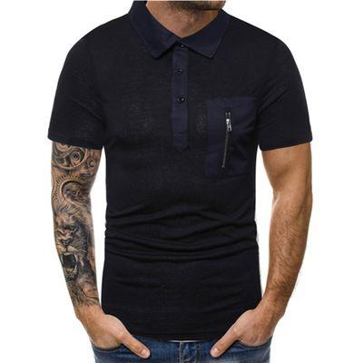 2021 2019 Mens Polo Shirts Summer Short Sleeve Zipper Black ...