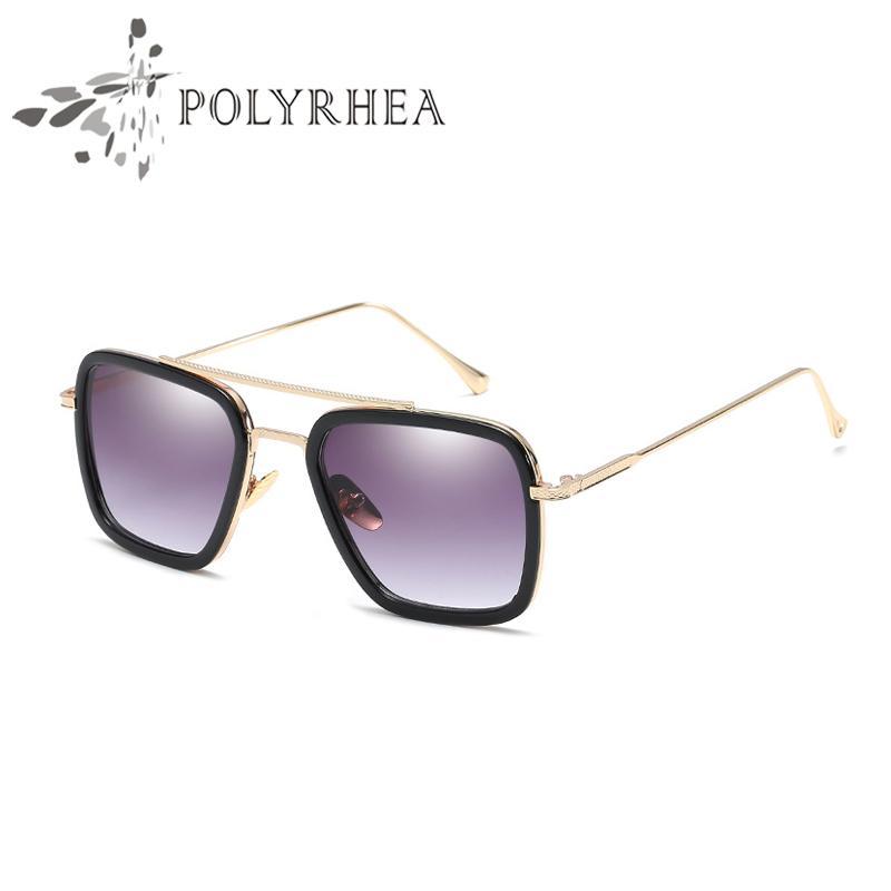 luxo- Hot New Men Marca Designer Óculos de titânio óculos quadrado retro estilo de moldura vidros de sol UV400 lentes com caso e Box