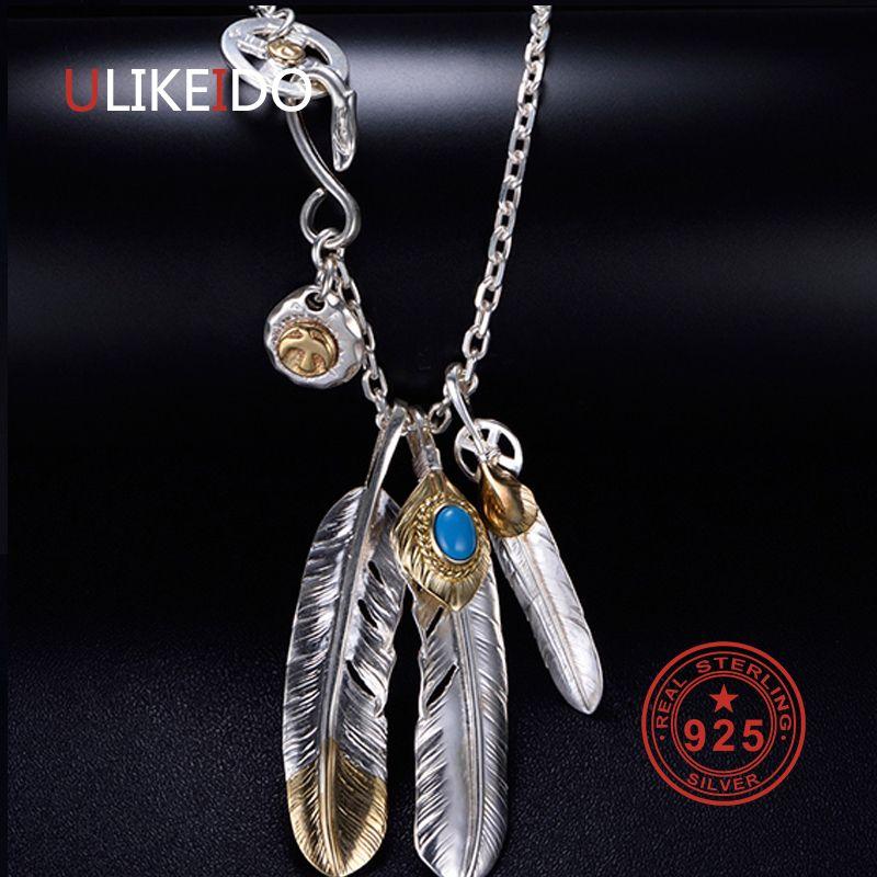 Sólido Collar de la plata esterlina 925 encantos de la vendimia para los hombres Takahashi Goros colgante de la pluma de Eagle cadena P1022 Nueva joyería popular
