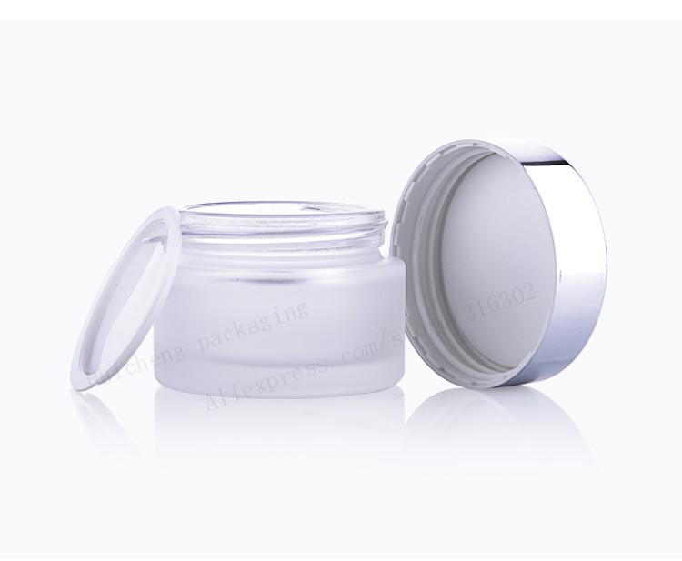 200 X New Design Frost Glass Make Up Cream Jar Pot Containers With Uv Shining Silver Cap with White Pad 15g 30g 50g