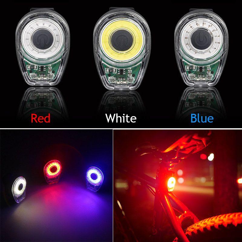 Red Lamp Bike Waterproof Circle Bicycle Red LED USB Charge Tail Light COB Warn