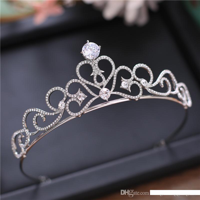 Silver Crystal Bride Tiara Crown Pearl Queen Wedding Crown Headpiece,2,Tiaras
