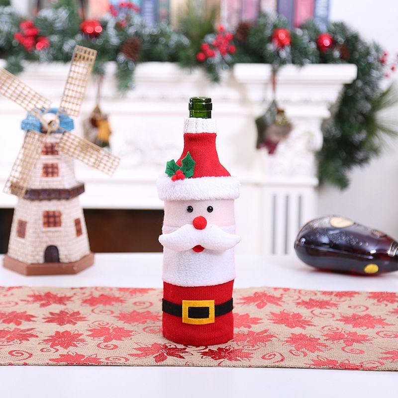 Christmas Beer Bottle Sweater Cover Bag Cartoon Elk Tree Snowflake Wine Bottle Sets Wine Cover Xmas New Year Decor