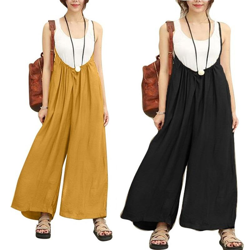 Summer Overalls For Women 2020 Sleeveless Solid Clothing Fashion Female Loose Cotton Streetwear Ladies Wide Leg Long Jumpsuits