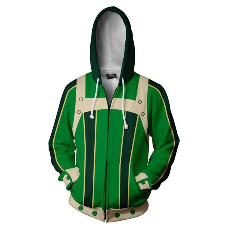 Anime long hoodie 3D jacket men My Hero Academia Hoodies Coat Todoroki Shoto Cosplay male oversized custom Sweatshirt tracksuit