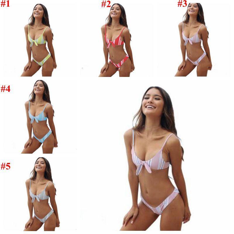 Женщины бикини Майо Одежда Полосатого купальник Knot купальник Мода тонких купальники лето Пляжные Бюстгальтеры Трусы Tankini CYL-B5852