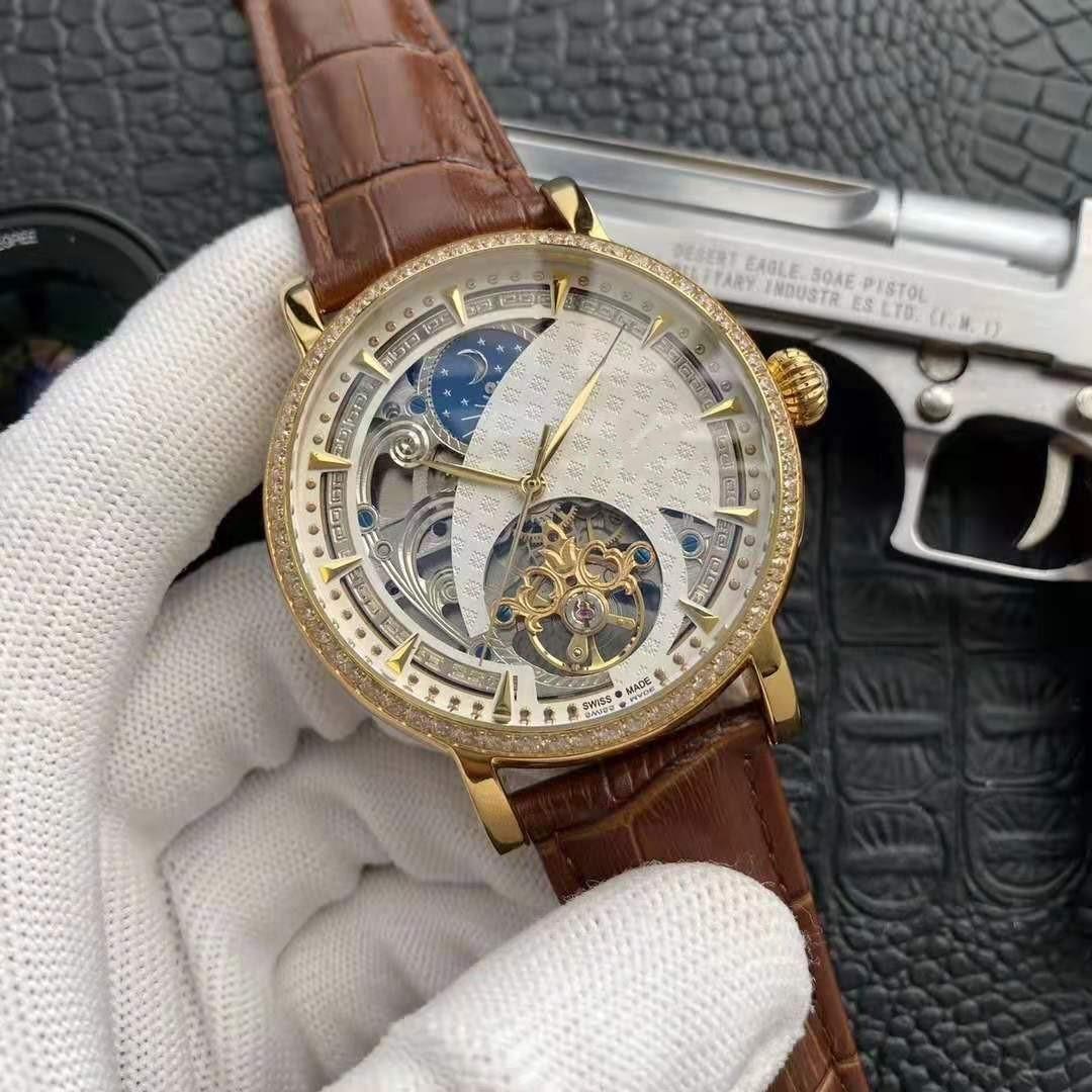 discagem 40 milímetros relógio de 2019 homens do novo luxo com moldura de diamantes, pulseira de couro genuíno, de 3 pinos oco superior volante automática Sports Watch