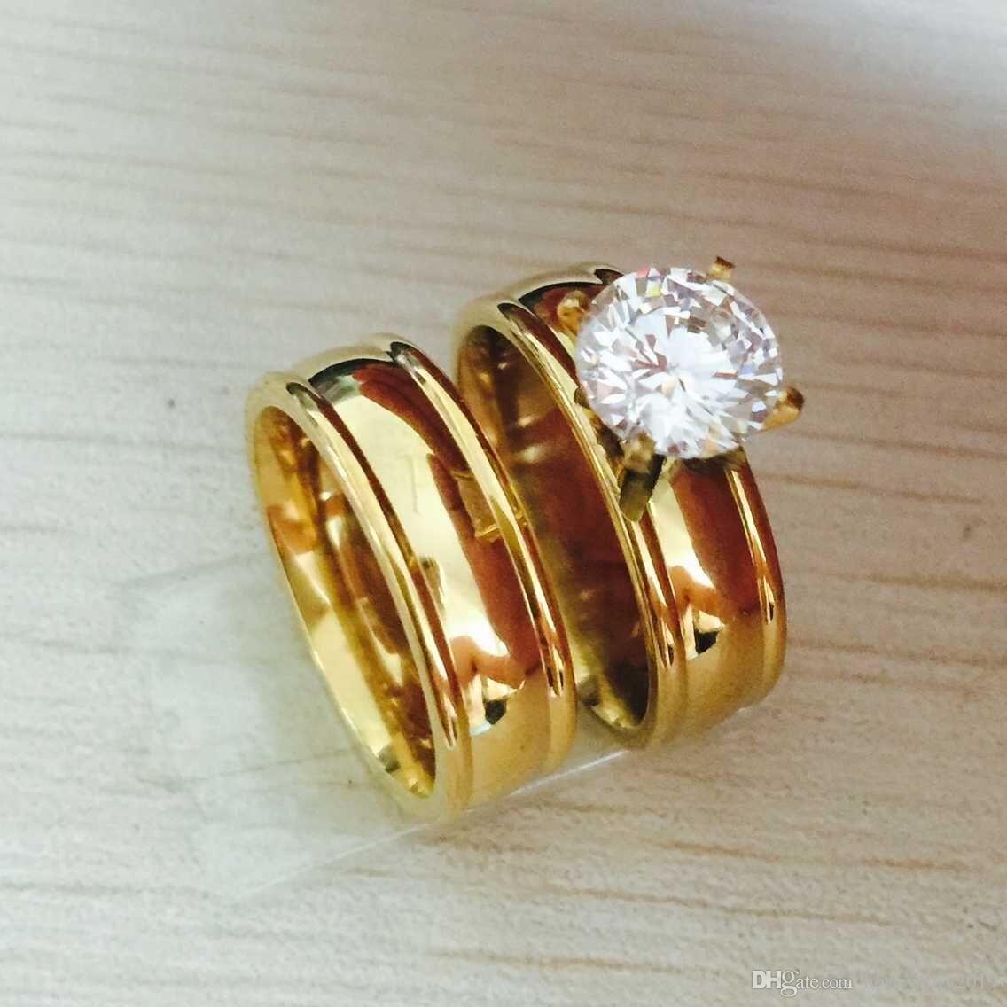 Large CZ Zircon gold filled Real Love Couple Ring Wedding Rings Engagement pair Rings for men women