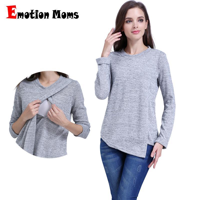 Emotion Mamme Moda Abbigliamento premaman Manica lunga Top premaman Top allattamento Vestiti per allattamento al seno per donne in gravidanza T-shirtMX190910